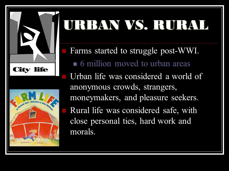 URBAN VS. RURAL Farms started to struggle post-WWI.