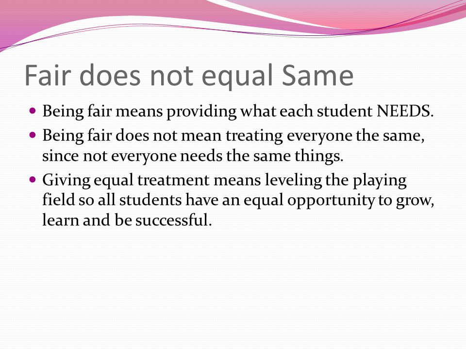 Fair does not equal Same