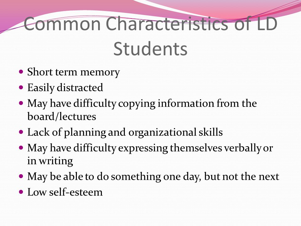 Common Characteristics of LD Students