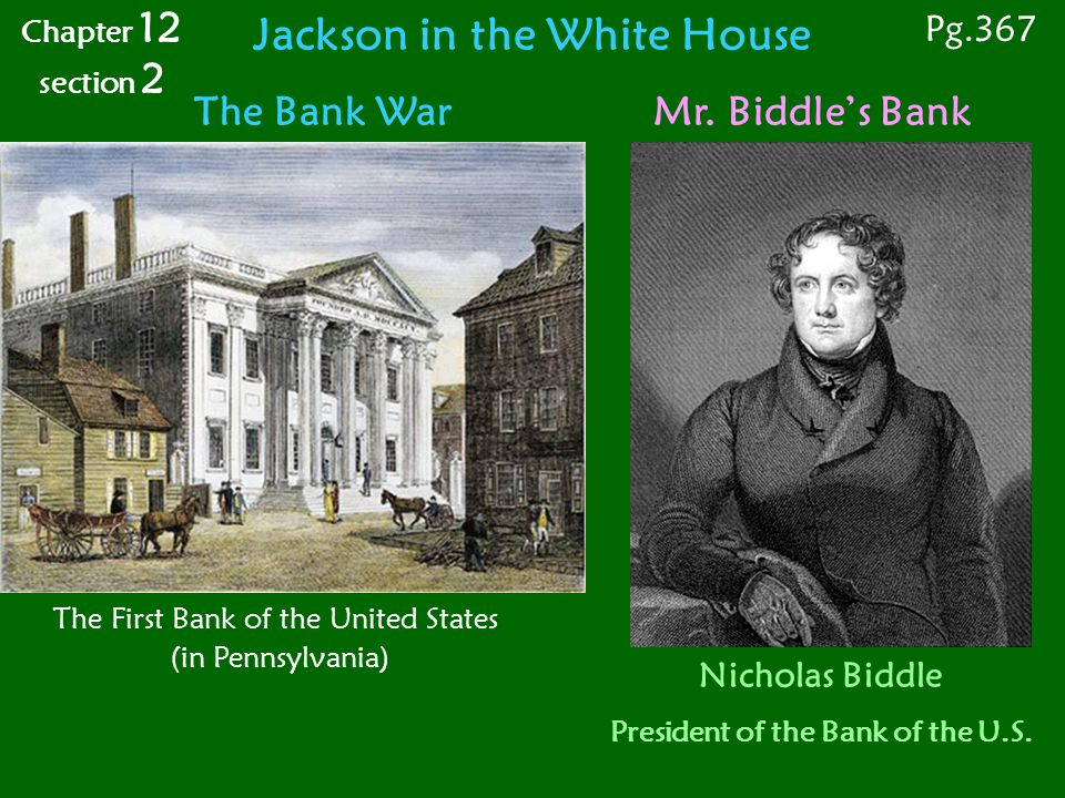 Jackson in the White House President of the Bank of the U.S.