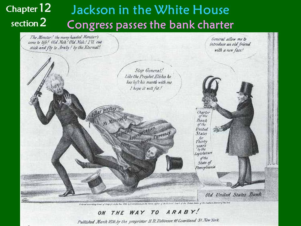 Jackson in the White House Congress passes the bank charter