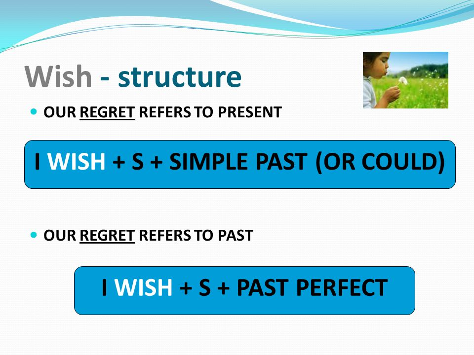 I WISH + S + SIMPLE PAST (OR COULD)
