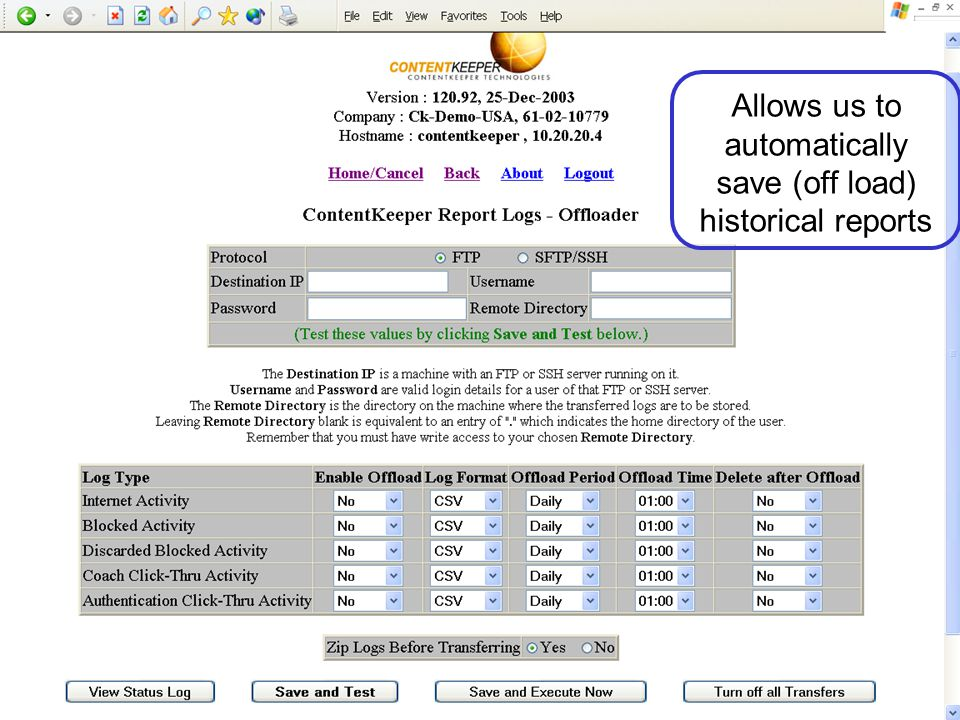 Allows us to automatically save (off load) historical reports