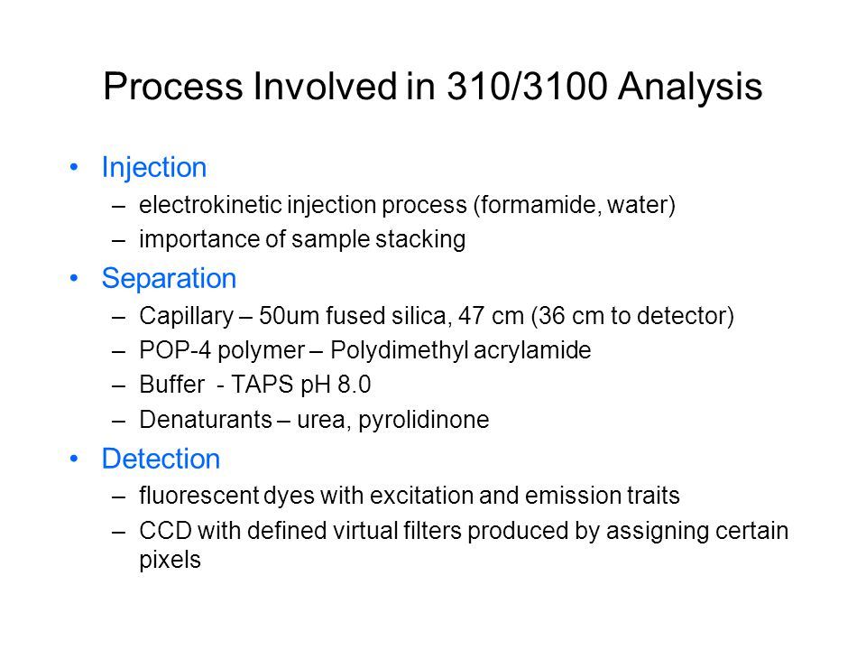 Process Involved in 310/3100 Analysis
