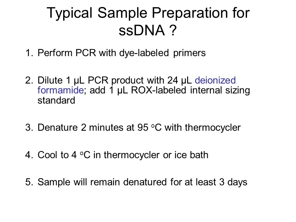 Typical Sample Preparation for ssDNA