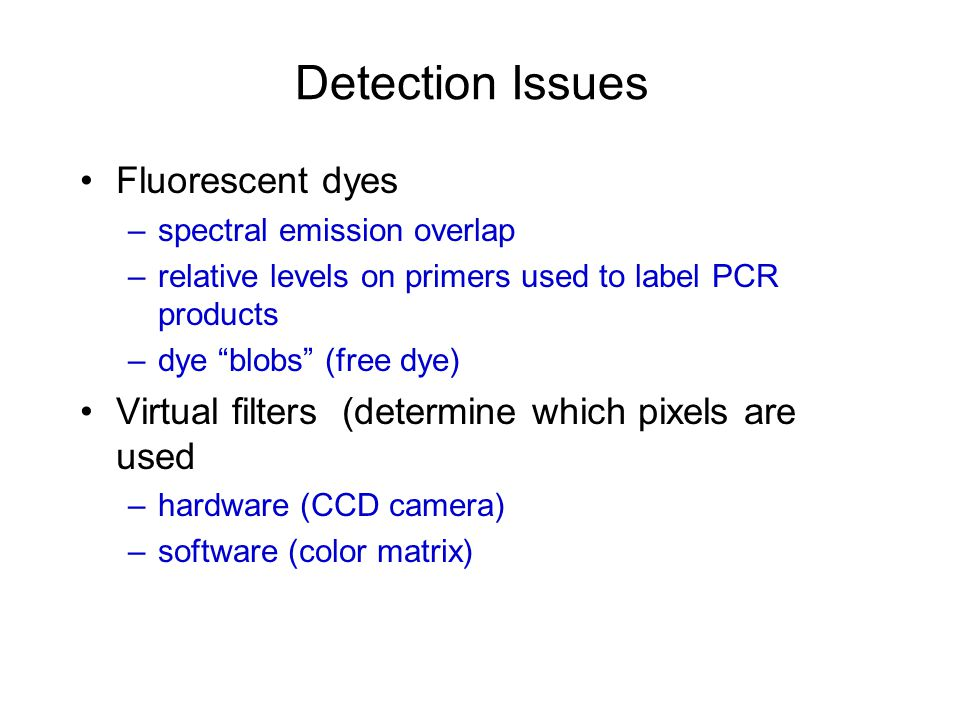 Detection Issues Fluorescent dyes