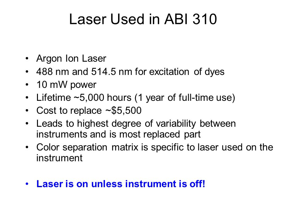 Laser Used in ABI 310 Argon Ion Laser