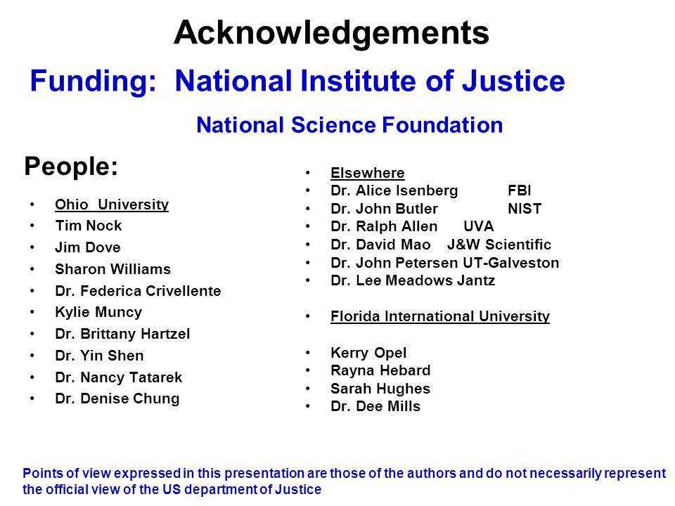 Acknowledgements Funding: National Institute of Justice