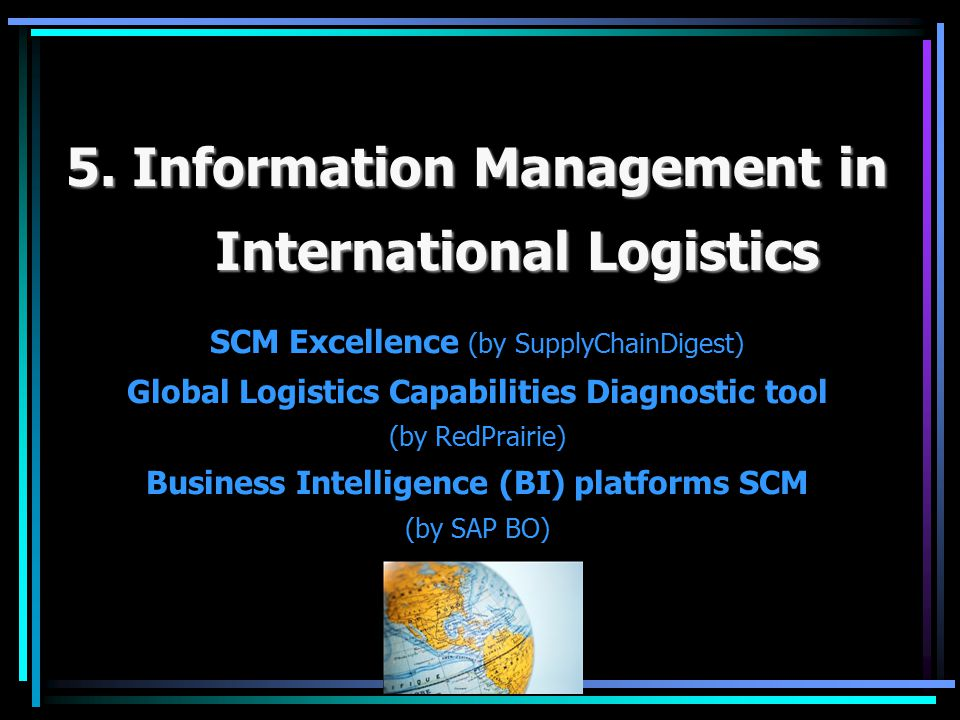 5. Information Management in International Logistics