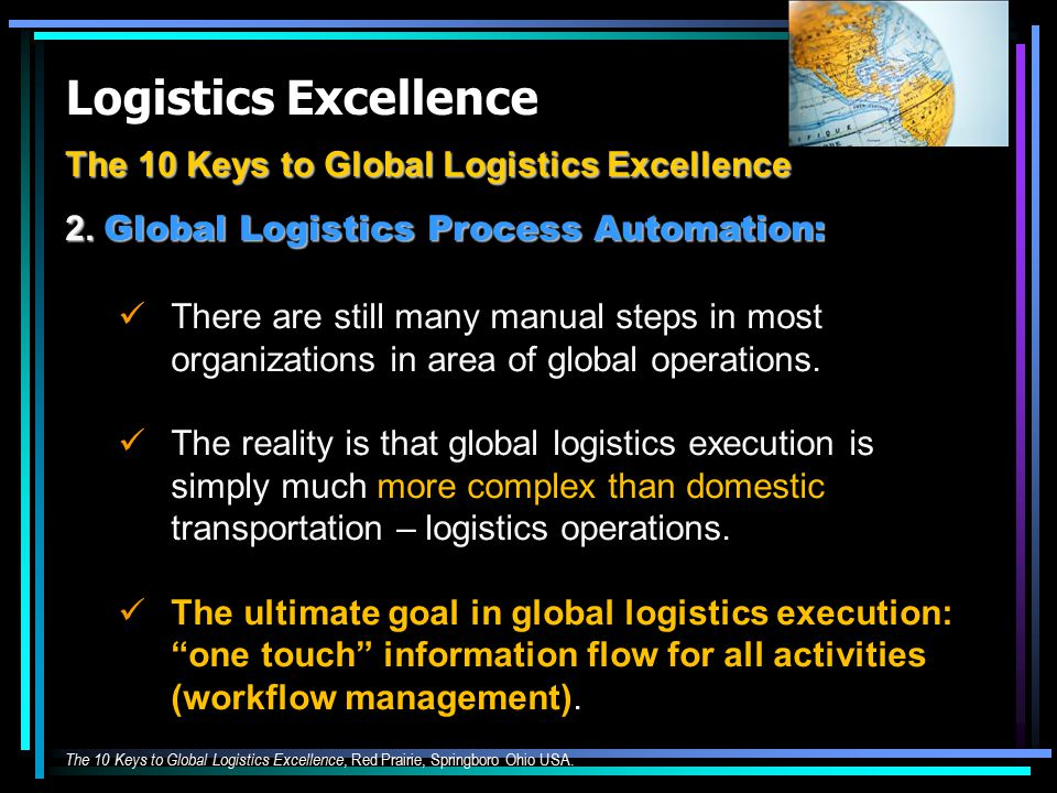 Logistics Excellence The 10 Keys to Global Logistics Excellence