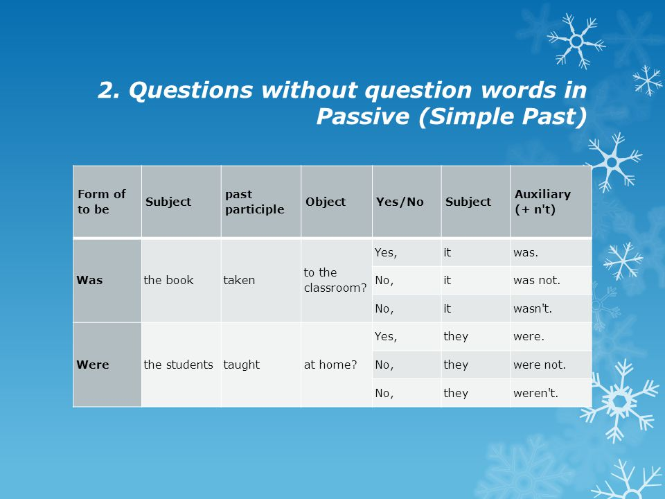 2. Questions without question words in Passive (Simple Past)