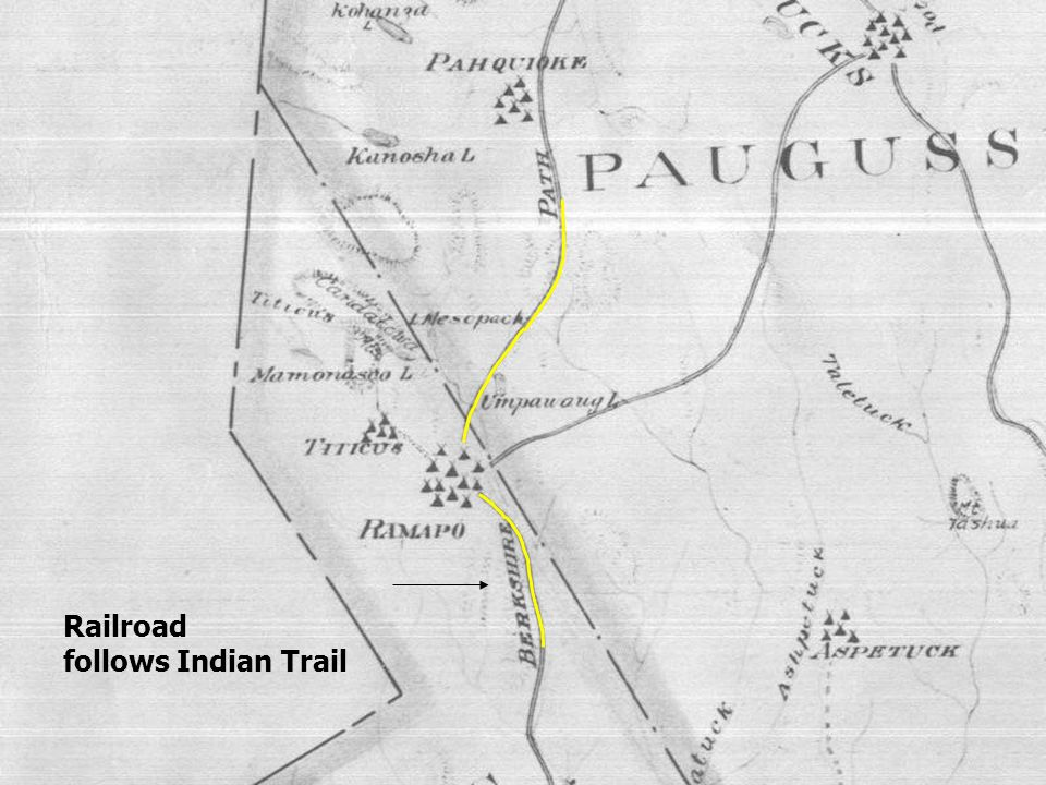 Railroad follows Indian Trail Early Indian Trails later used