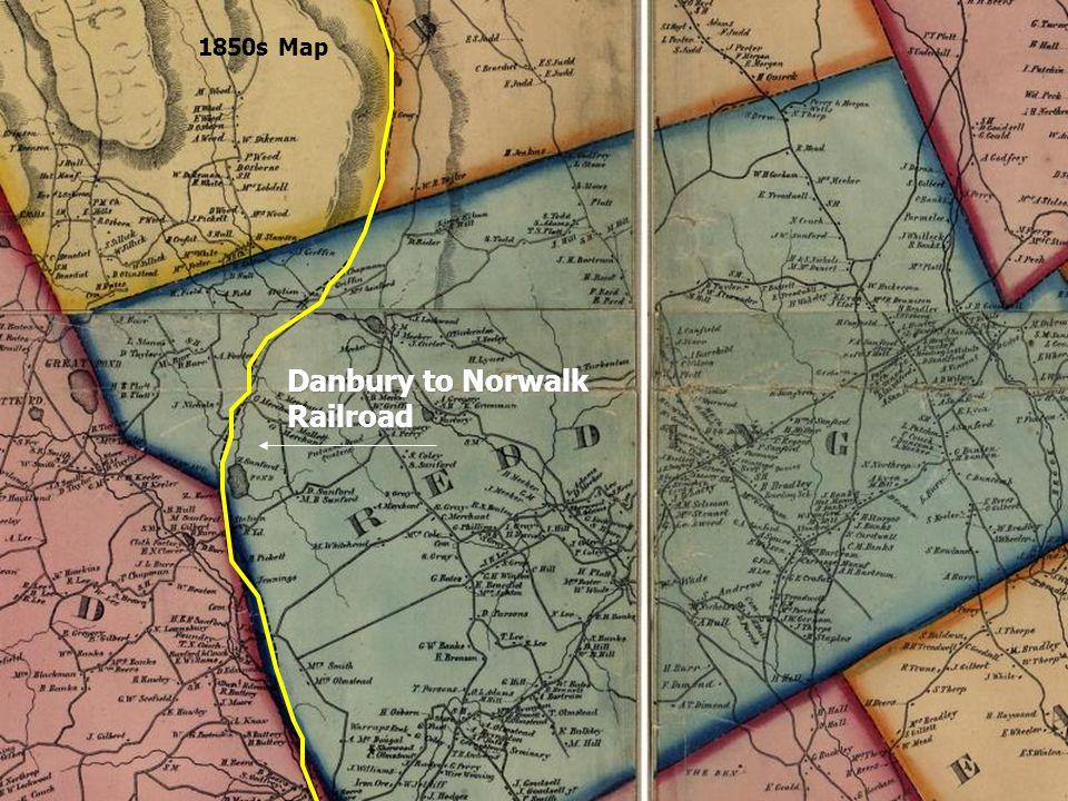 1850s Map Danbury to Norwalk Railroad
