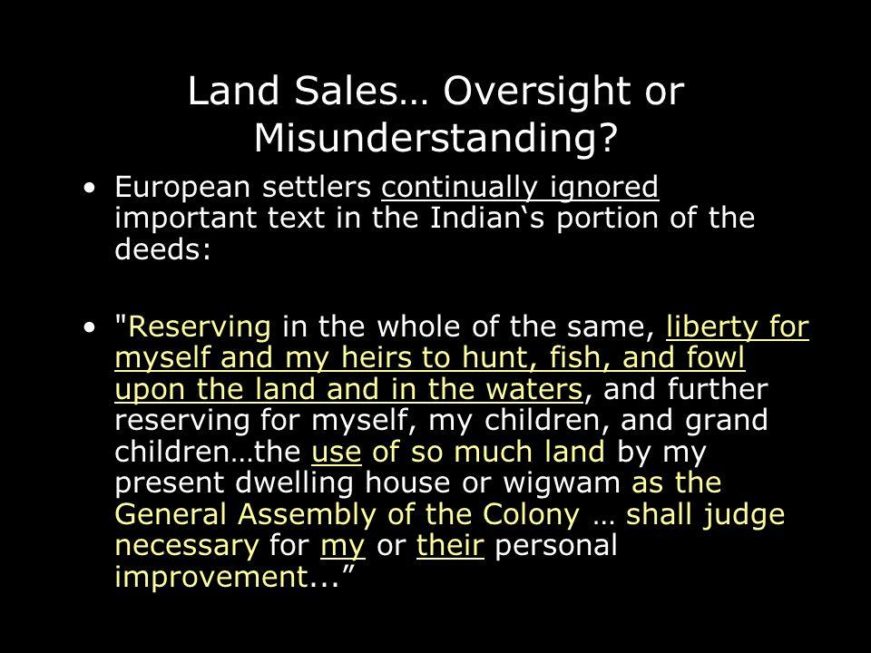 Land Sales… Oversight or Misunderstanding