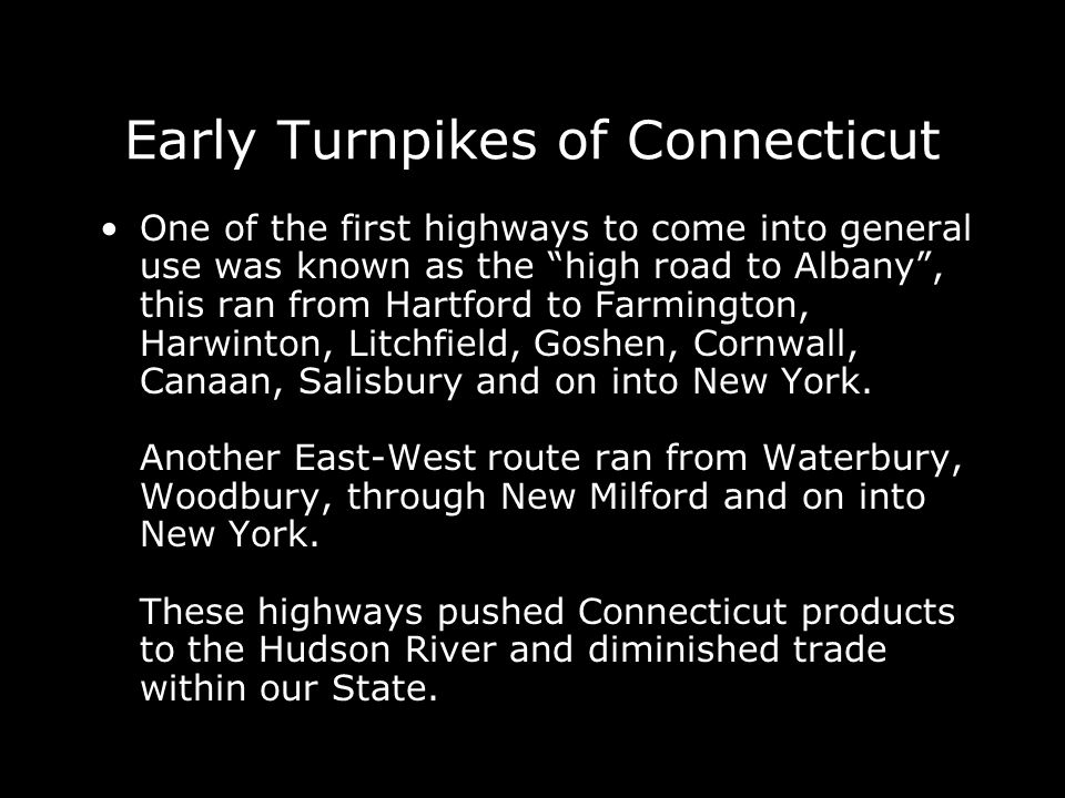 Early Turnpikes of Connecticut
