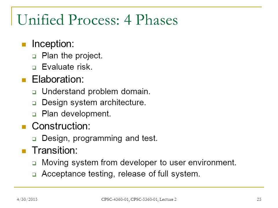Unified Process: 4 Phases