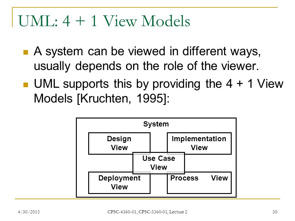 UML: 4 + 1 View Models A system can be viewed in different ways, usually depends on the role of the viewer.