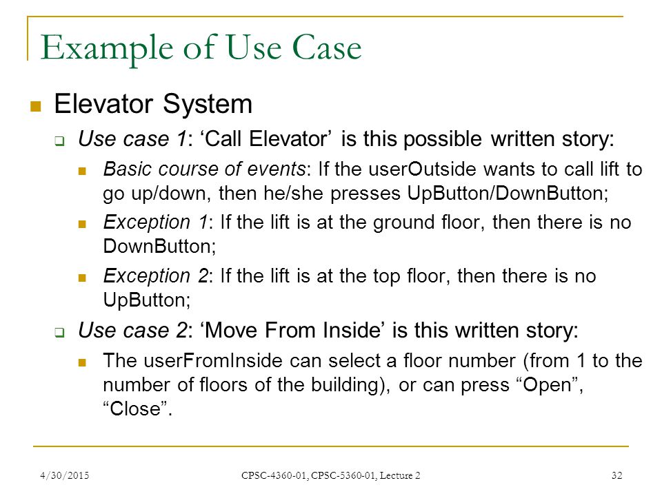 Example of Use Case Elevator System