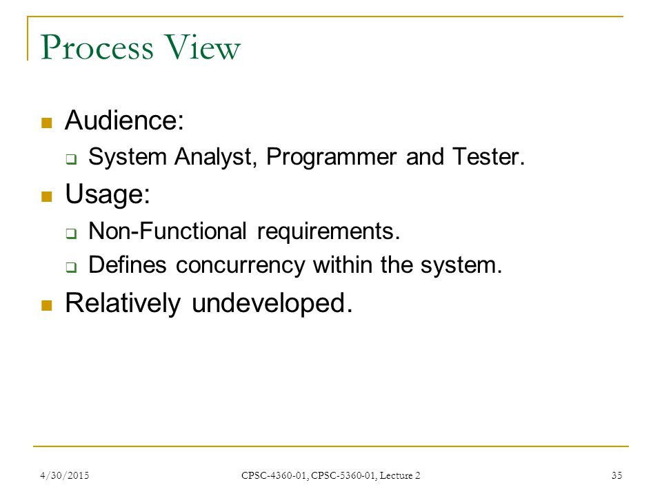 Process View Audience: Usage: Relatively undeveloped.