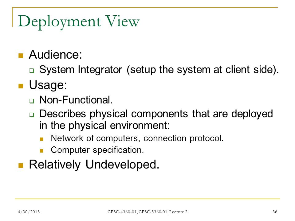Deployment View Audience: Usage: Relatively Undeveloped.