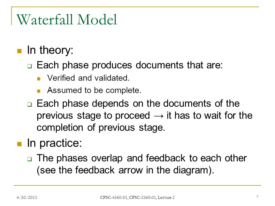 Waterfall Model In theory: In practice: