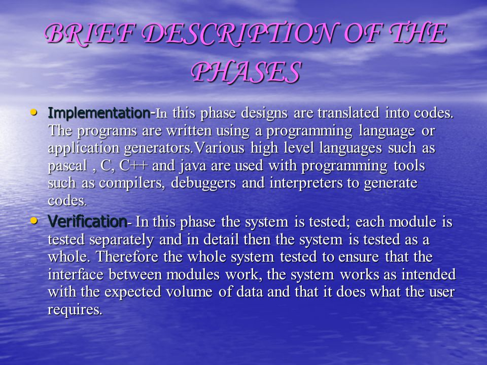 BRIEF DESCRIPTION OF THE PHASES