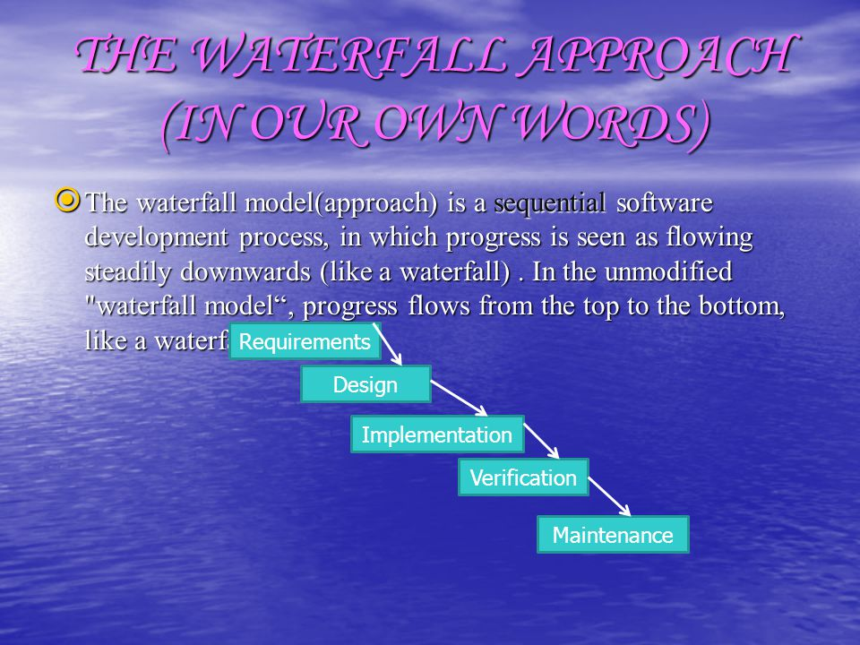 THE WATERFALL APPROACH (IN OUR OWN WORDS)