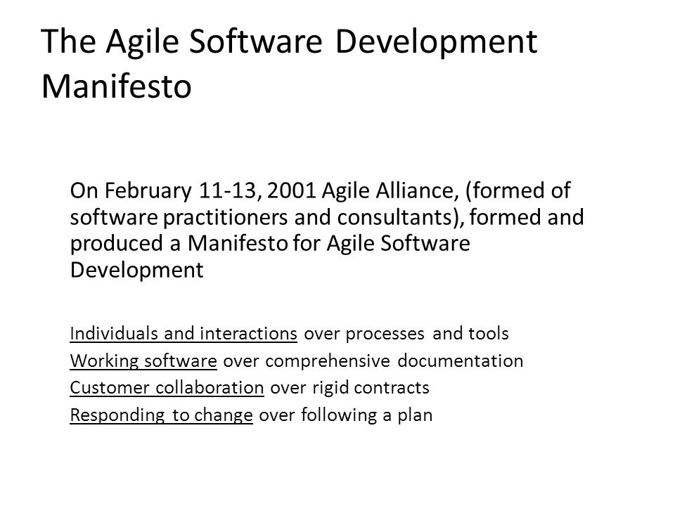 The Agile Software Development Manifesto