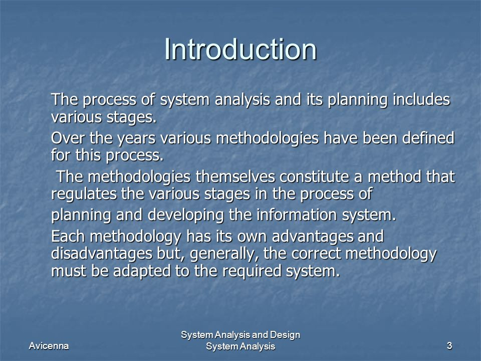 System Analysis and Design System Analysis