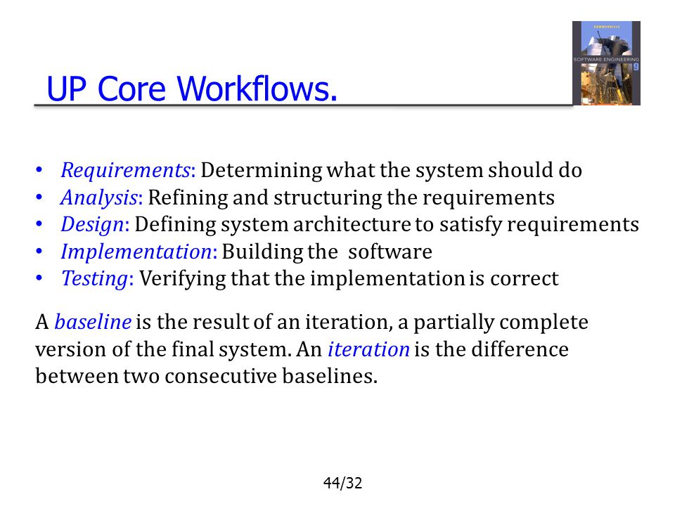UP Core Workflows. Requirements: Determining what the system should do