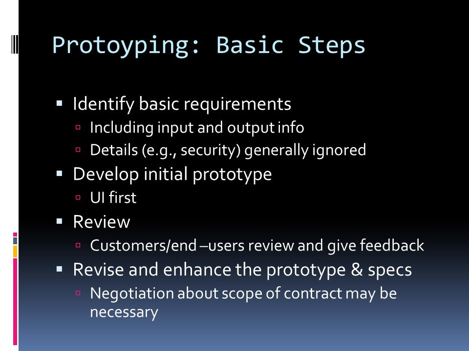 Protoyping: Basic Steps