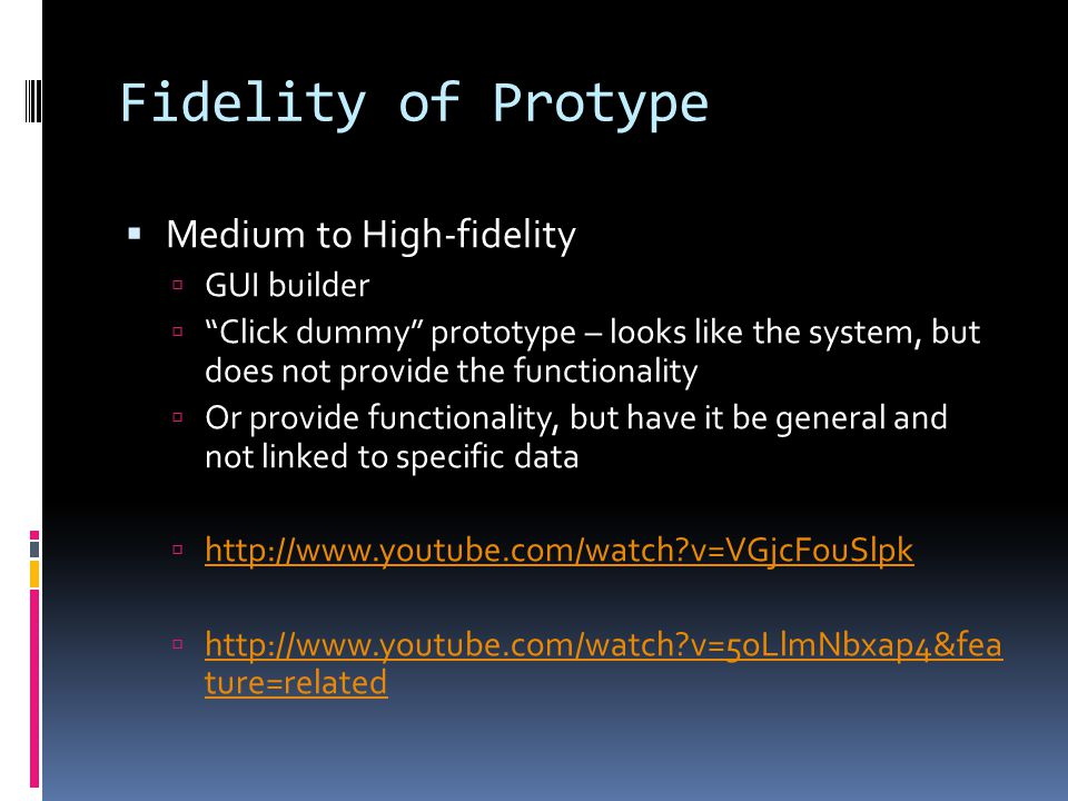 Fidelity of Protype Medium to High-fidelity GUI builder