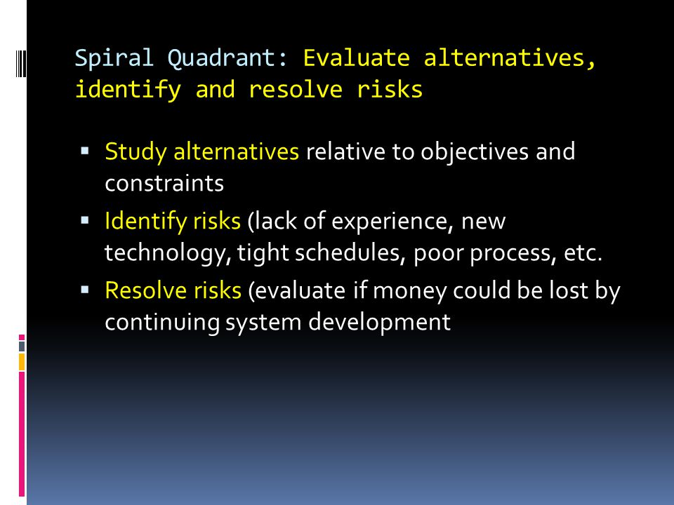 Spiral Quadrant: Evaluate alternatives, identify and resolve risks