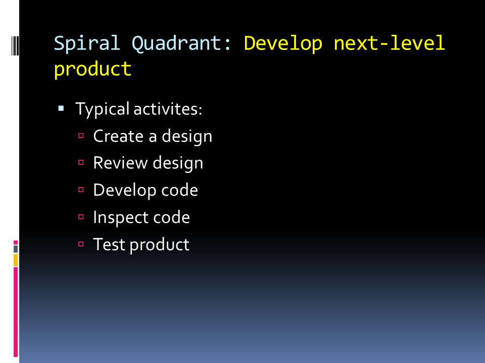 Spiral Quadrant: Develop next-level product