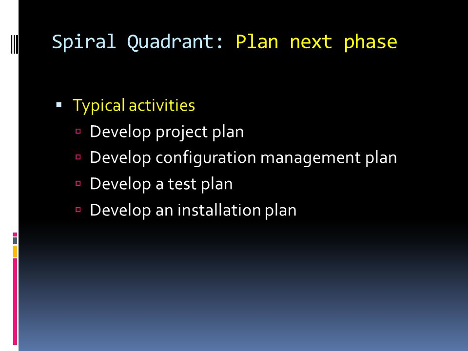 Spiral Quadrant: Plan next phase