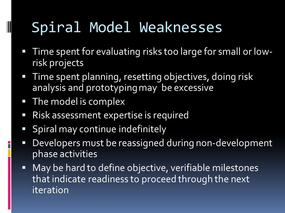 Spiral Model Weaknesses