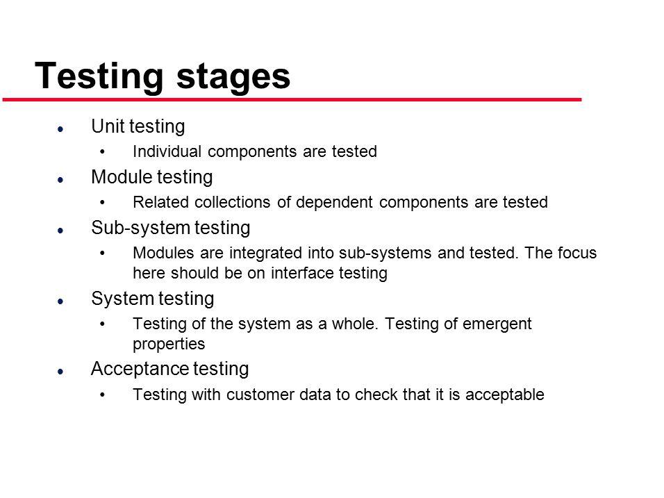 Testing stages Unit testing Module testing Sub-system testing