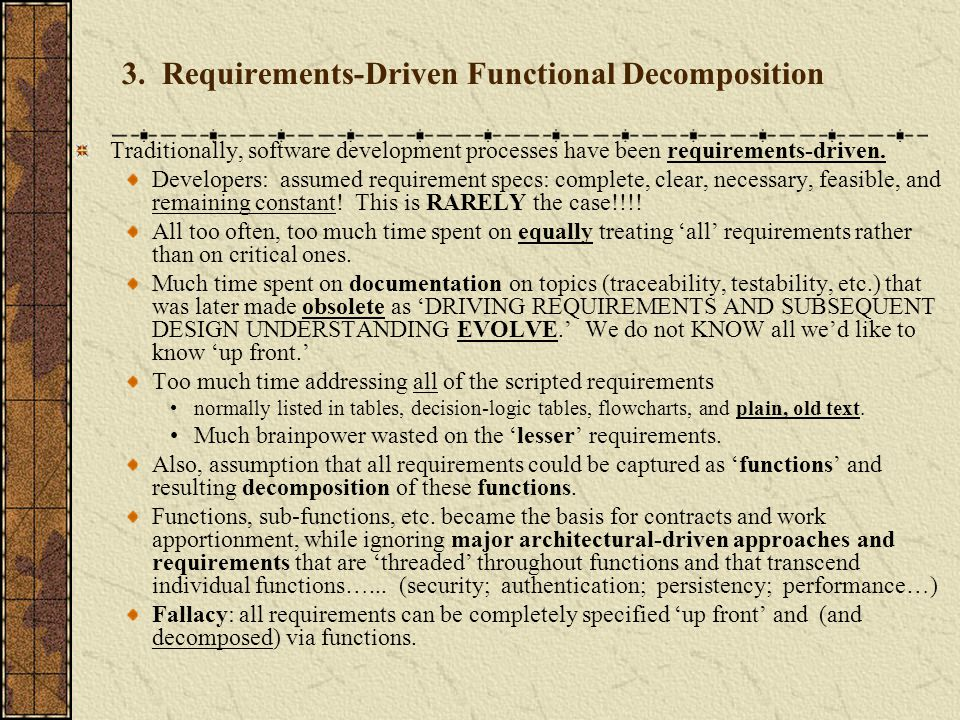3. Requirements-Driven Functional Decomposition