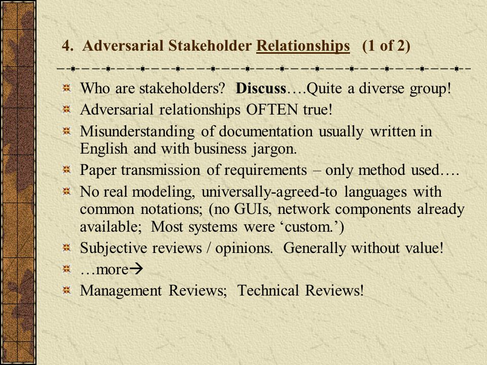 4. Adversarial Stakeholder Relationships (1 of 2)