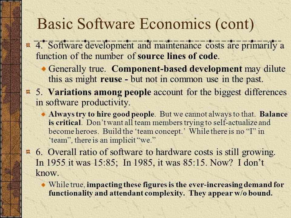 Basic Software Economics (cont)