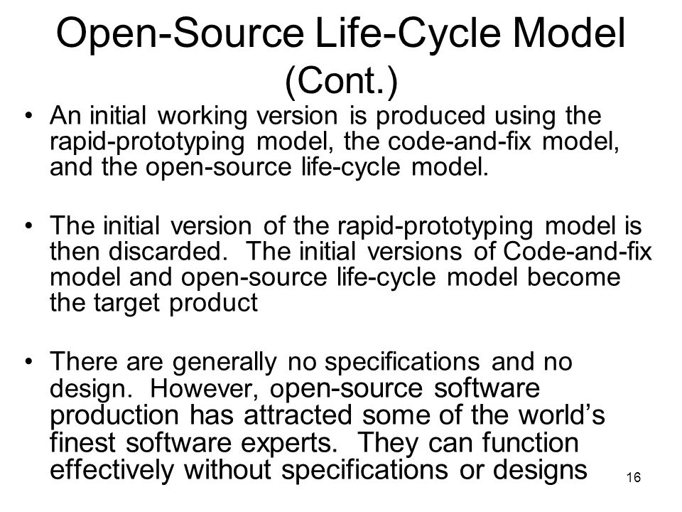 Open-Source Life-Cycle Model (Cont.)
