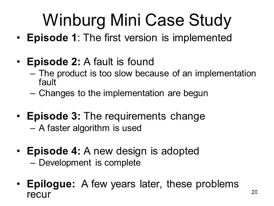 Winburg Mini Case Study