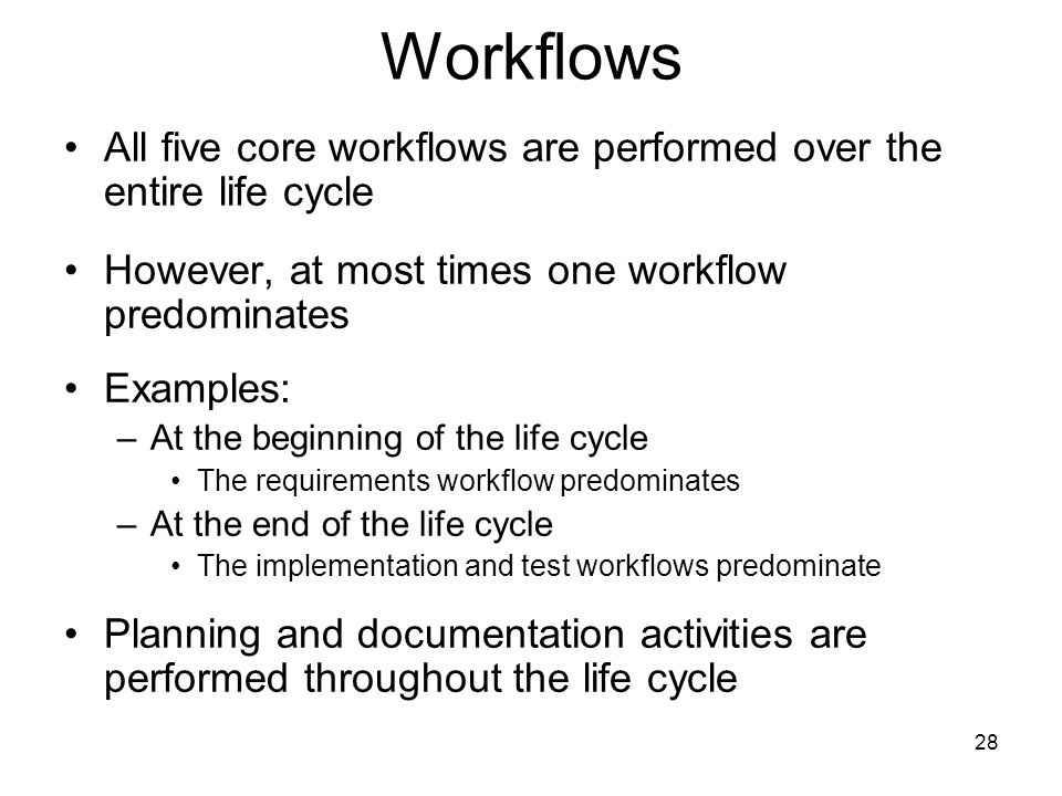 Workflows All five core workflows are performed over the entire life cycle. However, at most times one workflow predominates.
