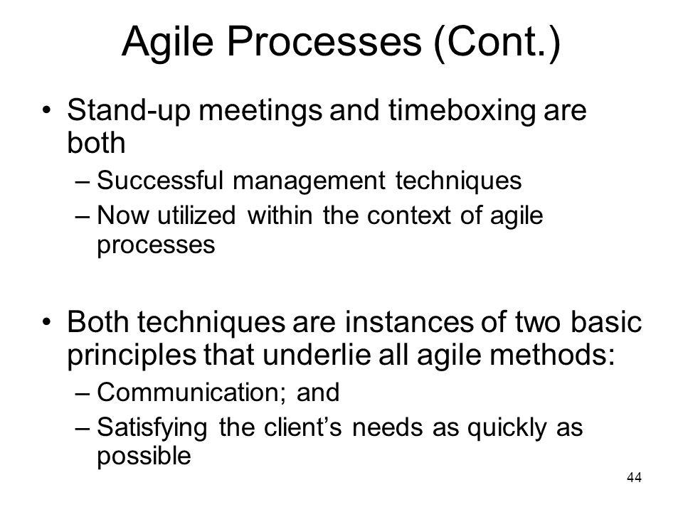 Agile Processes (Cont.)