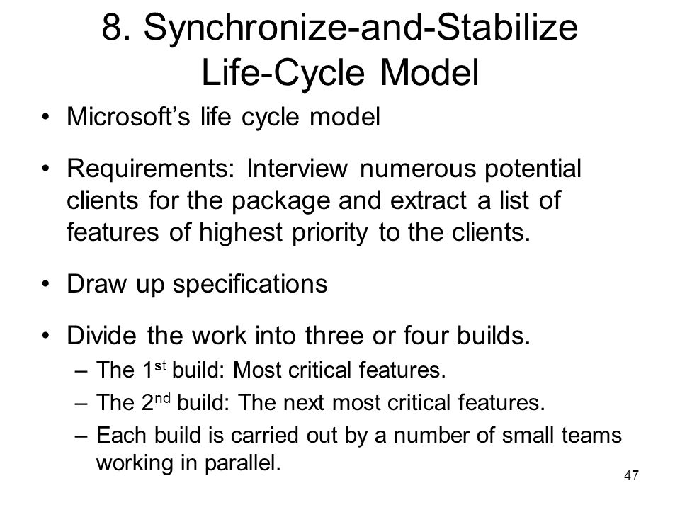 8. Synchronize-and-Stabilize Life-Cycle Model