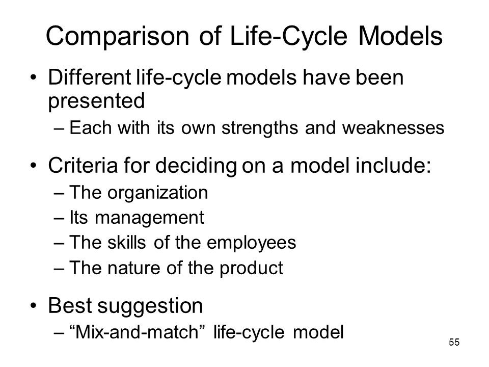 Comparison of Life-Cycle Models