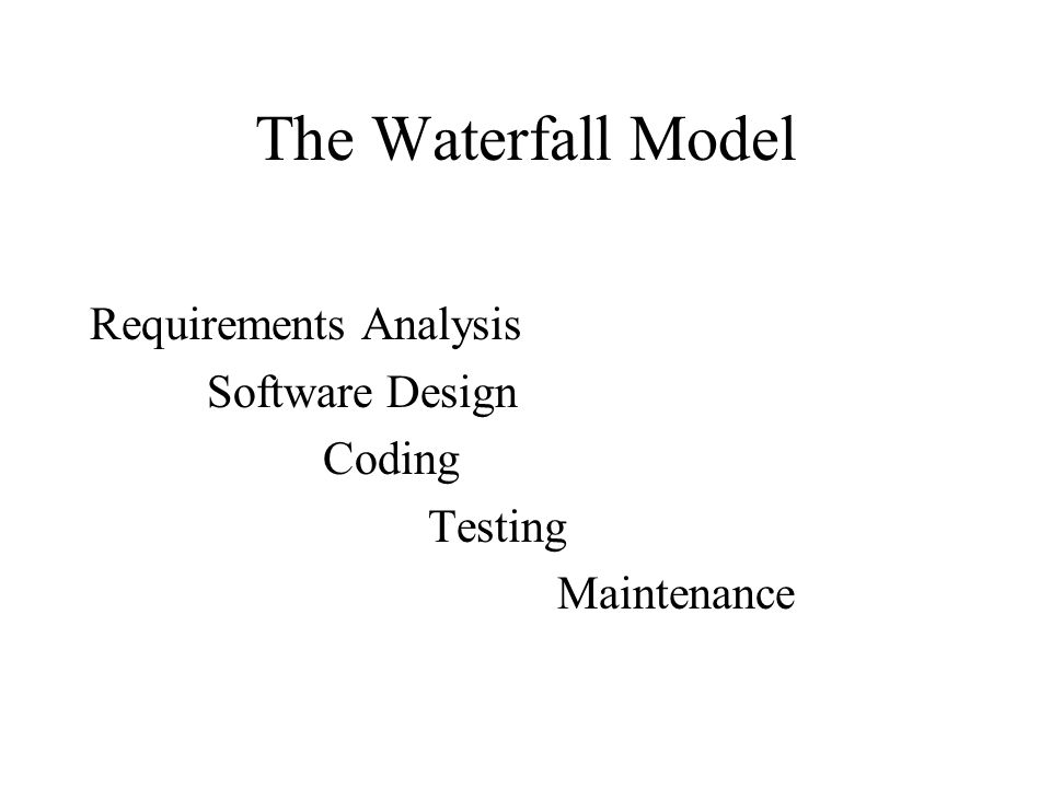 The Waterfall Model Requirements Analysis Software Design Coding