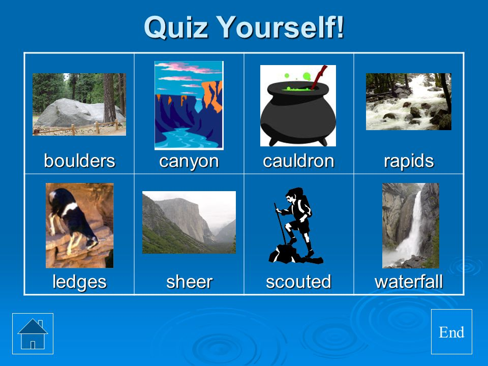 Quiz Yourself! boulders canyon cauldron rapids ledges sheer scouted