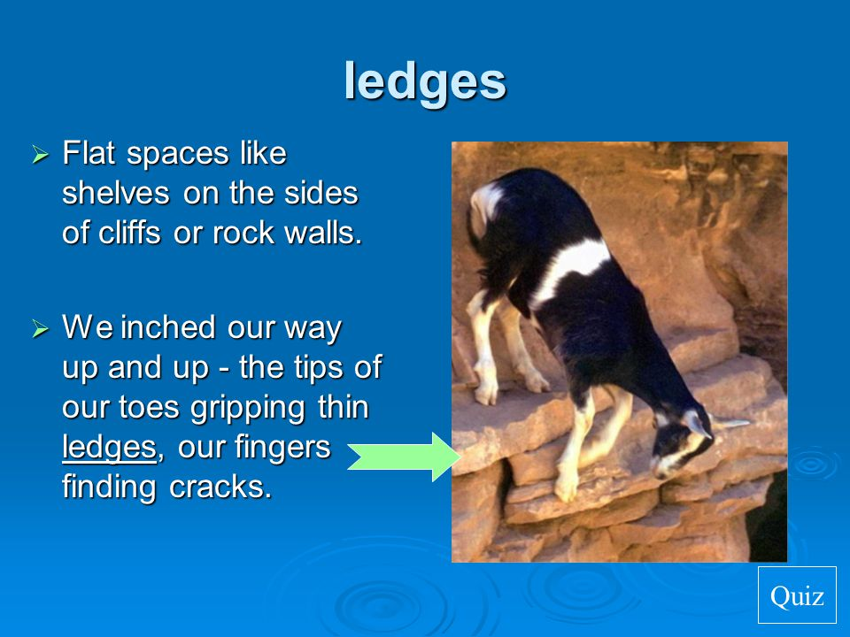 ledges Flat spaces like shelves on the sides of cliffs or rock walls.