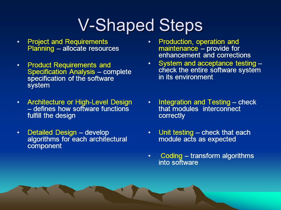 V-Shaped Steps Project and Requirements Planning – allocate resources